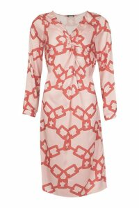 Womens Chain Print Wrap Midi Dress - Pink - 14, Pink