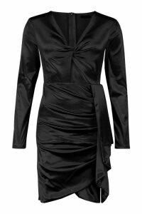 Womens Satin Twist Front Ruched Side Dress - black - M, Black