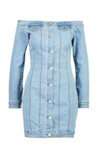 Womens Off The Shoulder Denim Dress - blue - 14, Blue