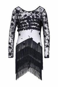 Womens Sheer Bodycon Embellished Mini Dress - black - XL, Black