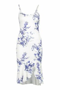 Womens Recycled Blue Floral Strappy Frill Front Dress - 8, Blue