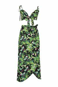 Womens Palm Print Tie Detail Bralet & Wrap Skirt Co-Ord - black - 14, Black