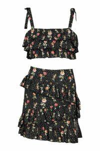 Womens Floral Tie Ruffle Bralet & Mini Skirt Co-Ord - black - 10, Black