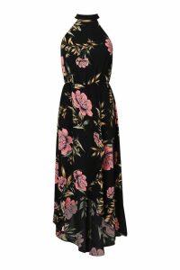 Womens Woven Oversized Floral Midaxi Dress - black - 12, Black