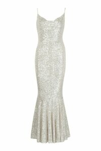 Womens All Over Embellished Fishtail Maxi Dress - grey - S, Grey