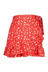 Womens Ditsy Floral Ruffle Hem Wrap Mini Skirt - red - 12, Red