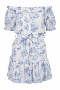 Womens Woven Crepe Floral Bardot Dress - blue - 8, Blue