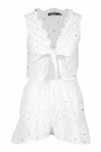 Womens Broderie Frill Edge Tie Front Top & Short Co-Ord - white - 14, White
