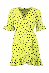 Womens Neon Spot Ruffle Front Tea Dress - green - 14, Green
