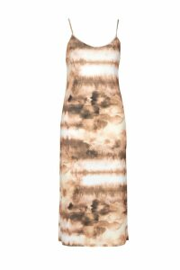 Womens Tie Dye Satin Slip Midi Dress - orange - 14, Orange