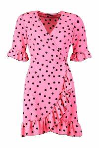 Womens Neon Spot Ruffle Front Tea Dress - Pink - 10, Pink