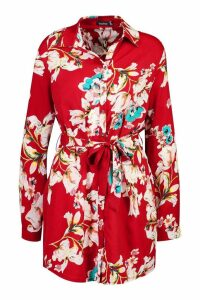 Womens Floral Shirt Dress - red - 12, Red