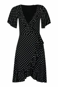 Womens Tall Hannah Polka Dot Wrap Dress - black - 16, Black