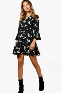 Womens Floral Ruffle Tea Dress - black - 16, Black