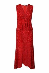 Womens Tall Polka Dot Ruffle Midi Dress - red - 8, Red