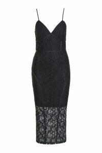 Womens Tall Lace Midi Dress - black - 8, Black