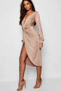 Womens Tall Olivia Wrap Front Slinky Midi Dress - beige - 6, Beige