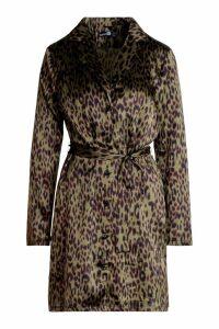 Womens Tall Satin Leopard Print Belted Shift Dress - green - 8, Green