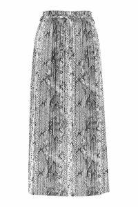 Womens Tall Pleated Snake Print Midi Skirt - beige - 16, Beige