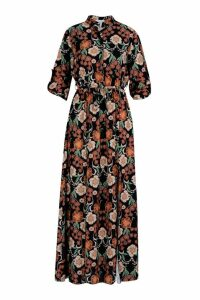 Womens Tall Floral Midaxi Shirt Dress - black - 8, Black