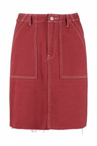 Womens Tall Contrast Stitch Denim Mini Skirt - orange - 14, Orange
