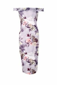 Womens Tall Bardot Floral Print Midi Bodycon Dress - multi - 14, Multi