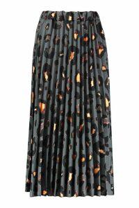 Womens Tall Leopard Print Pleated Midi Skirt - grey - 16, Grey