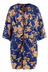 Womens Tall Floral Knot Front Kimono Dress - blue - 16, Blue
