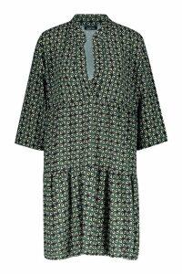 Womens Tall Geo Print Smock Dress - green - 8, Green