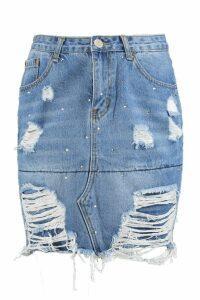 Womens Tall Distressed Diamante Denim Skirt - blue - 16, Blue