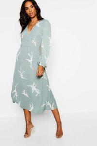 Womens Tall Floral Print Wrap Midi Dress - green - 16, Green
