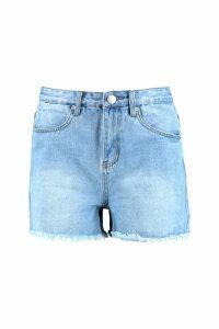Womens Tall High Waist Frayed Denim Shorts - blue - 16, Blue