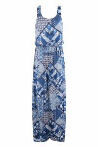 Womens Tall Charlie Paisley Print Maxi Dress - navy - 8, Navy