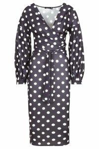 Womens Tall Polka Dot Midi Bodycon Dress - black - 10, Black