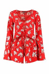Womens Tall Floral Ruched Crop + Shorts Co-ord - red - 10, Red