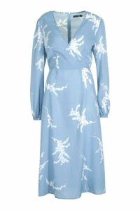 Womens Tall Floral Print Wrap Midi Dress - blue - 12, Blue