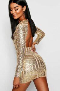 Womens Boutique Sequin Open Back Bodycon Dress - metallics - 14, Metallics