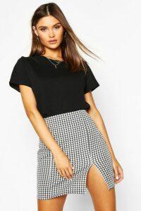 Womens Large Dogtooth Front Split Mini Skirt - black - 8, Black
