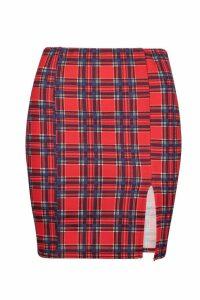Womens Tartan Split Front Mini Skirt - red - 16, Red