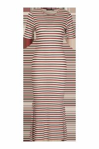 Womens Stripe Crew Neck Midaxi Dress - pink - 14, Pink