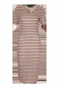 Womens Stripe Notch Front Midi Dress - pink - 12, Pink