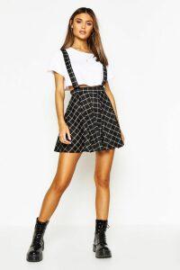 Womens Grid Check Pinafore Skirt - black - 14, Black