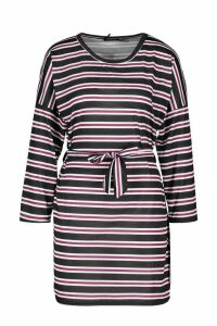 Womens Striped Jersey Easy Fit Sash Dress - red - 14, Red