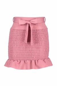 Womens Shirred Tie Waist Frill Hem Mini Skirt - pink - 16, Pink