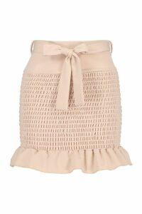 Womens Shirred Tie Waist Frill Hem Mini Skirt - beige - 16, Beige