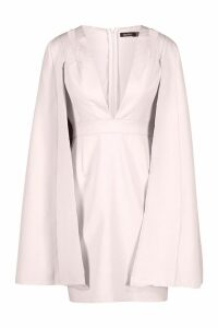 Womens Cape Detail Tailored Dress - pink - 12, Pink