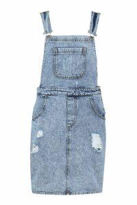 Womens Acid Wash Distressed Denim Pinafore Dress - Blue - 10, Blue