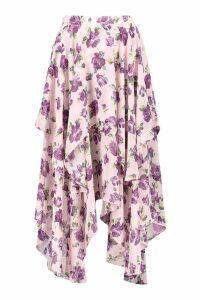 Womens Floral High Low Hem Maxi Skirt - purple - 16, Purple
