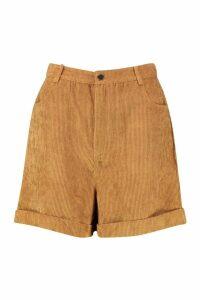 Womens Chunky Cord Turn up Shorts - beige - 16, Beige