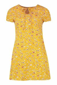Womens Woven Floral Keyhole Shift Dress - yellow - 16, Yellow